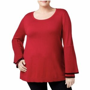 NWT Style & Co Ruffle Sleeve Red Black Sweater 1X